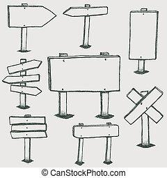 garabato, madera, señales, y, dirección, flechas