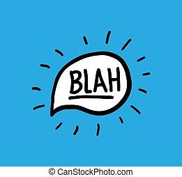 garabato, mano, blah, escrito, vector, discurso, palabras, caligrafía, burbuja