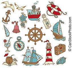 garabato, mar, elementos, -, para, su, diseño, álbum de recortes, en, vector