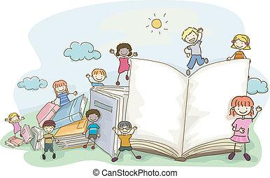 garabato, niños, libro