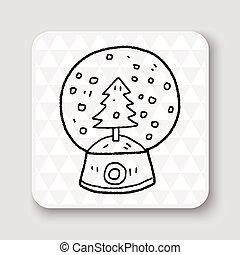 garabato, pelota, nieve