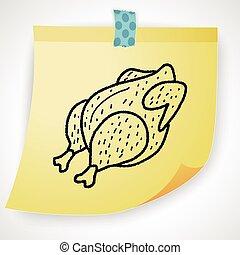 garabato, pollo, dibujo, asado
