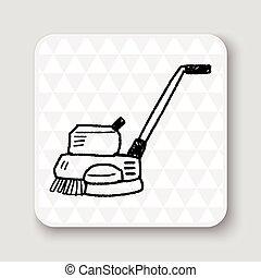 garabato, pulir, máquinas, piso