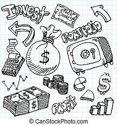 garabato, símbolo, conjunto, financiero