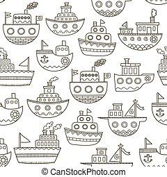 garabato, seamless, negro, patrón, barcos, blanco