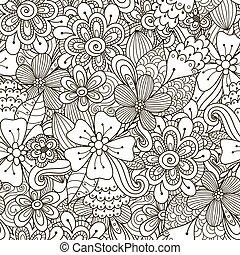 garabato, seamless, negro, patrón, floral, blanco
