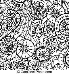garabato, seamless, negro, vector., patrón, floral, blanco
