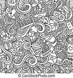 garabato, seamless, niños, vector, patrón, caricatura