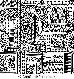 garabato, seamless, vector, fondo negro, étnico, patrón, blanco