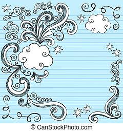 garabato, sketchy, vector, marco, nube