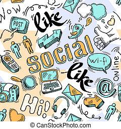 garabato, social, seamless, plano de fondo, medios, patrón