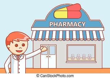 garabato, tienda droga, ilustración