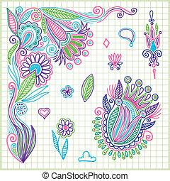 garabato, vector, flor, elemento