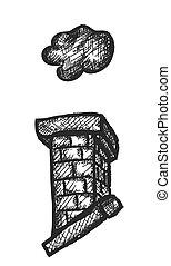 garabato, vector, ilustración, chimenea