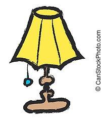 garabato, vector, lámpara, tabla, illustrat