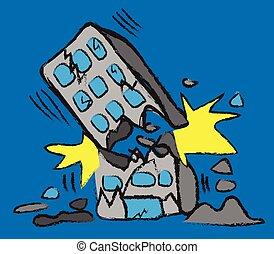 garabato, vector, terremoto, edificio