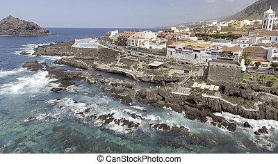 Garachico, Tenerife. Aerial view of pools along the ocean