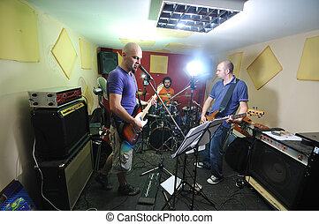 garage, addestramento, musica, possedere, banda