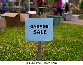 garage, amerikanische , yard- verkauf, wochenende