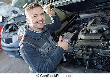 garage, arbete, manlig, mekaniker, stående