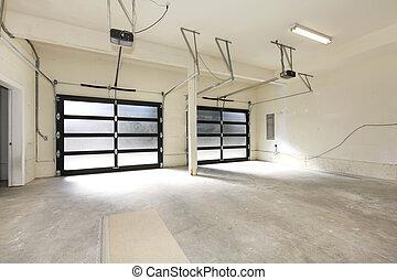 garage, auto, zwei, glas, doors., neu