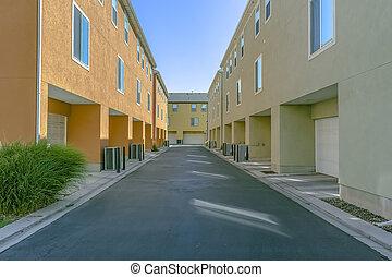 garage, bâtiments, dos, portes, résidentiel