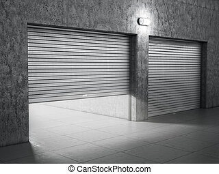 Garage building made of concrete with roller shutter doors