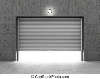Garage building made of concrete with roller shutter doors.