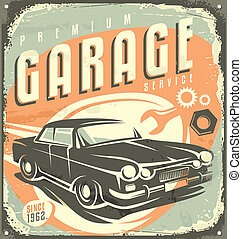 Garage car service - Retro garage metal sign design