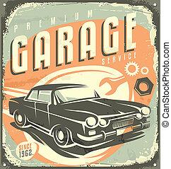 Garage car service - Retro garage metal sign design