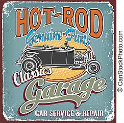 garage, classieke, barst