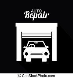 Garage design over black background, vector illustration.