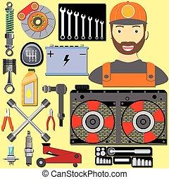 garage, dessin animé, mécanicien
