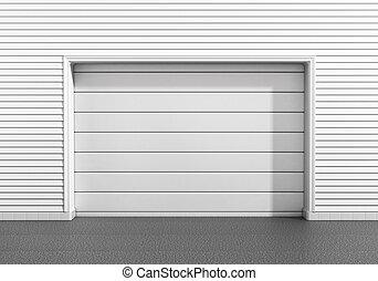 Garage door at a modern building.