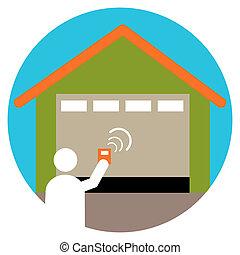 Garage Door Opener - An image of a garage door opener icon.
