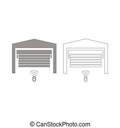 Garage door set icon .