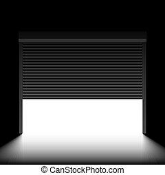 Garage door with rolling shutters