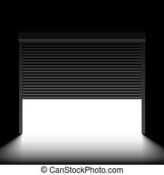 Garage door with rolling shutters