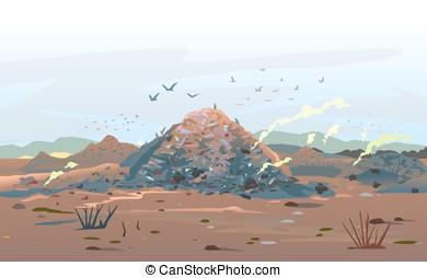 Garage Dump Concept Landscape - Garage dump concept with...