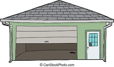 garage, endommagé, isolé