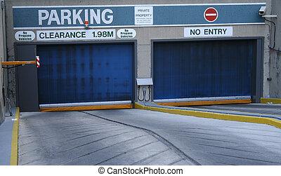 garage, entrata, parcheggio