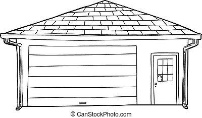 garage, esquissé, fenêtre, cassé