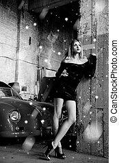garage, femme, retro, mode