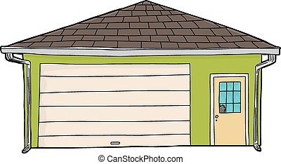 garage, fenêtre, vert, cassé