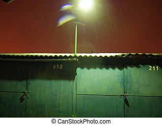 garage for cars in winter evening