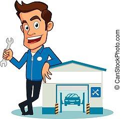 Garage - Friendly car mechanic, he is next to a garage