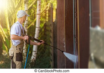 Garage Gate Water Cleaning. Garage Walls and Gate Powerful...