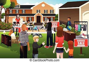 garage, gens, vente, avoir