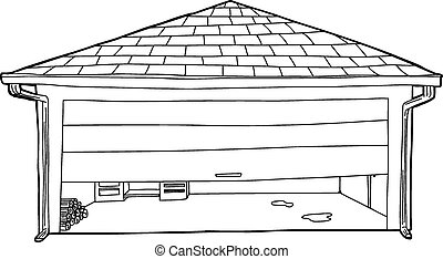 Garage Half Open Outline - Outline cartoon of residential...