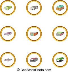 Garage icons set, cartoon style